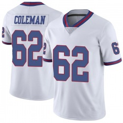 Limited Davon Coleman Men's New York Giants White Color Rush Jersey - Nike