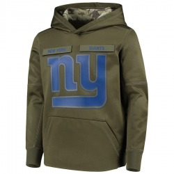 Youth New York Giants Green 2018 Salute to Service Pullover Performance Hoodie - Nike