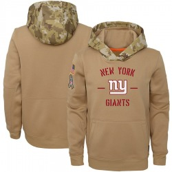 Youth New York Giants Khaki 2019 Salute to Service Therma Pullover Hoodie - Nike
